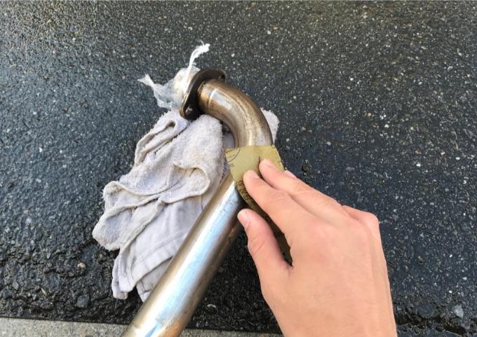 マフラー 磨き エキゾーストパイプ