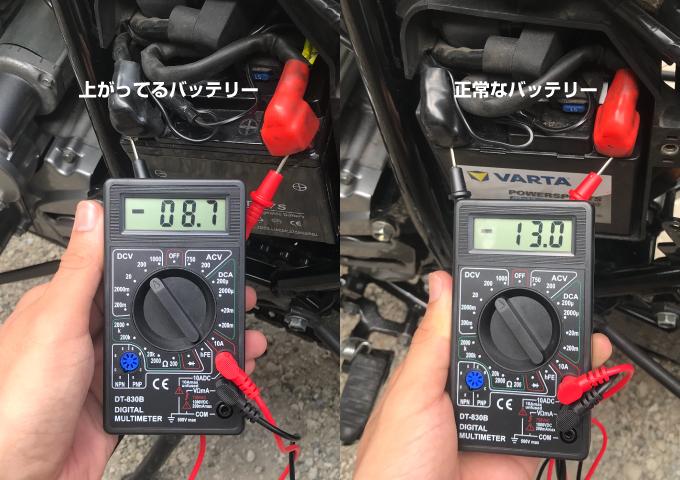 バイク バッテリー 電圧
