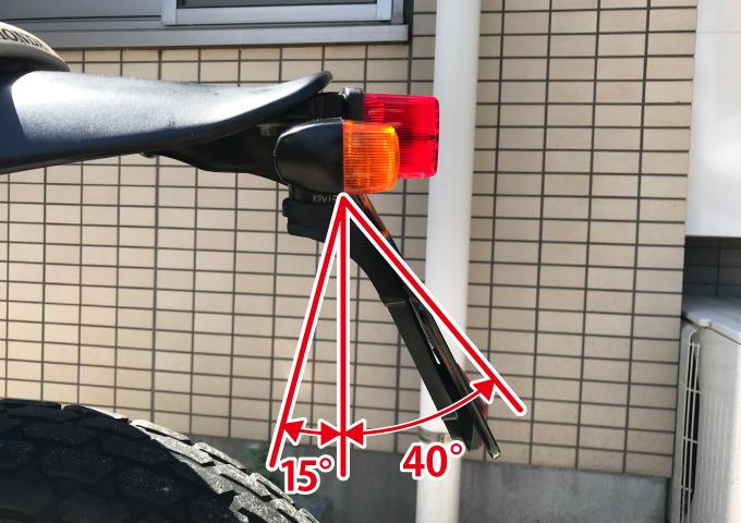 バイク ナンバープレート 角度