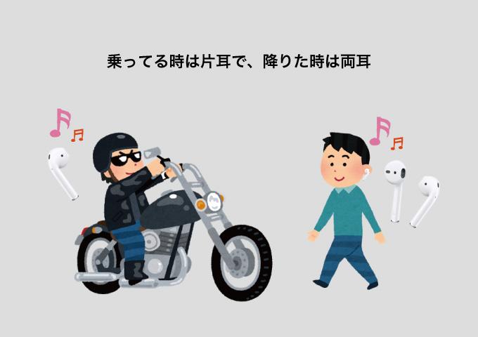 エアポッズ バイクは片耳 普段は両耳