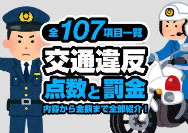 交通違反 点数 罰金 一覧