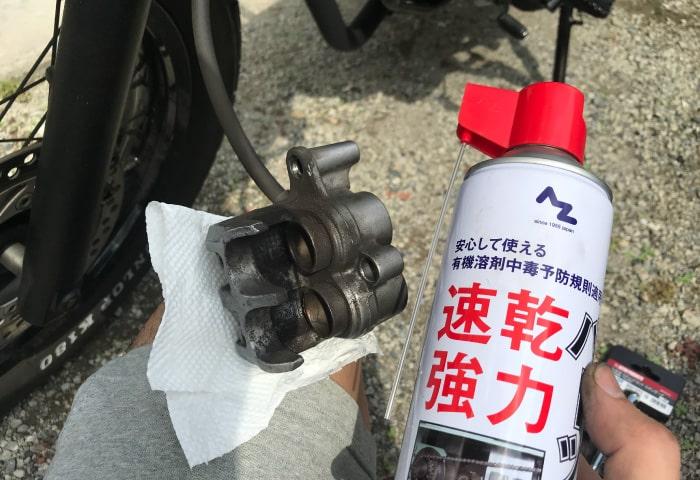バイク ブレーキパッド交換 洗浄