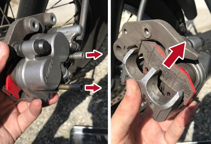 バイク ブレーキパッド交換方法 外す
