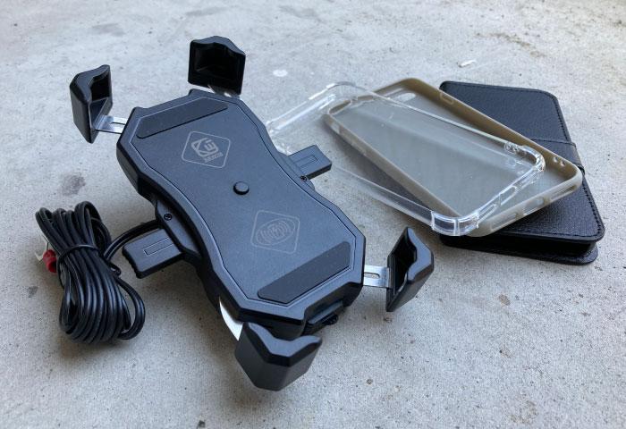バイク用スマホホルダー QI充電 カバー